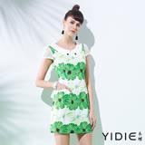 【YIDIE衣蝶】夏日綠印花網紗棉質短洋裝