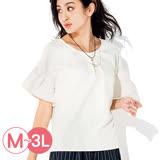 日本ANNA LUNA 預購-背部小花釦寬袖彈性上衣(共四色/M-3L)