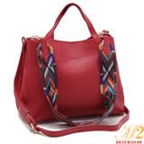 【MOROM】真皮韓版質感拼接彩色織帶子母包(經典紅)8120