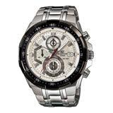 CASIO EDIFICE 競速時尚三眼運動腕錶-白-EFR-539D-7A