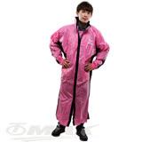 JUMP新二代優帥前開式休閒風雨衣-粉紅黑+通用鞋套