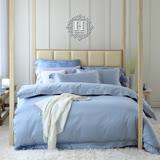 《HOYA H Series極致優棉》雙人四件式頂級500織刺繡匹馬棉被套床包組-漂浮藍(贈莫代爾針織夏被)