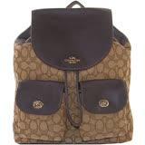 【COACH】緹花織布C Logo雙口袋後背包(卡其/咖啡)