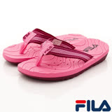 FILA頂級童鞋-運動休閒夾腳涼鞋-S434R-255桃-(19-24cm)