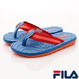 FILA頂級童鞋-運動休閒夾腳涼鞋-S434R-366藍桔-(18-24cm)