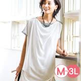 日本ANNA LUNA 預購-雪紡拼接長版皺邊上衣(共四色/M-3L)