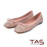 TAS 幾何鏤空蝴蝶結方頭娃娃鞋-微甜粉