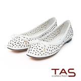 TAS 幾何鏤空蝴蝶結方頭娃娃鞋-清新白