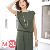 日本Portcros 預購-圓領鬆緊腰連身褲裝(共三色/M-3L)