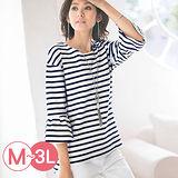 日本Portcros 現貨-前短後長造型寬袖條紋上衣(藏青x白/M)