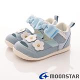 日本Carrot機能童鞋-帆布小花護踝款-B919淺藍-(13cm-14.5cm)