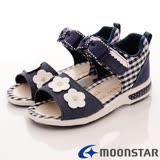 日本Carrot機能童鞋-小花護踝涼鞋款-C21815深藍-(15cm-19cm)
