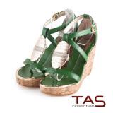 TAS層次交叉繫帶金屬水鑽質感楔型涼鞋-亮眼綠