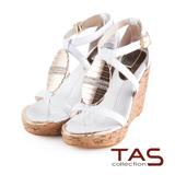TAS層次交叉繫帶金屬水鑽質感楔型涼鞋-輕感白