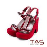 TAS 金屬鉚釘一字繫帶復古粗跟涼鞋-魅力紅