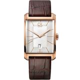 瑞士 Calvin Klein 方型直紋玫瑰金男腕錶 (K2M21620)