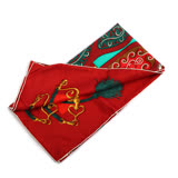 【HERMES】皮帶圖騰絲巾90x90(紅/綠)
