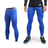 (男) NIKE 緊身長褲-彈力長褲 慢跑 路跑 三鐵 緊身褲 藍灰 S