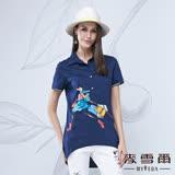 【麥雪爾】襯衫領雪拼女孩印花棉質上衣-藍