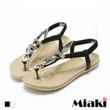 【Miaki】涼鞋民俗渡假風綴飾繫帶平底露趾涼拖 (米色 / 黑色)