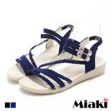 【Miaki】涼鞋南洋渡假麻編金屬釦坡跟涼拖 (藍色 / 黑色)