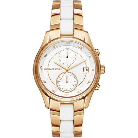 Michael Kors Briar 雙時區腕錶-白x雙色錶帶/40mm MK6466 -friDay購物 x GoHappy