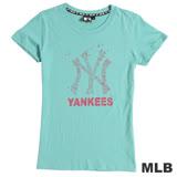MLB-紐約洋基隊飛燕印花短袖T恤-淺綠(女)