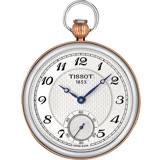 TISSOT 天梭 小秒針無蓋式機械懷錶(附鍊)-白x玫塊金/45mm T8604052903201