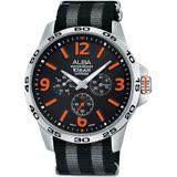 【ALBA】ACTIVE 活力運動日曆錶-黑x橘時標VD75-X092O( AP6341X1)