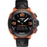TISSOT T-RACE TOUCH 鋁合金多功能觸控腕錶-黑x橘框/42mm T0814209705703