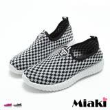 【Miaki】休閒鞋韓個性菱格紋厚底懶人包鞋 (粉色 / 黑色)