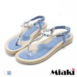 【Miaki】涼鞋韓閃耀渡假寶石夾腳平底涼拖 (米白色 / 水藍色)