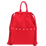 agnes b. 水晶貼飾尼龍輕便束口後背包(紅)