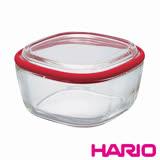 【HARIO】Range ware紅色方形耐熱玻璃保鮮盒M