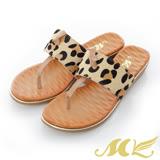 MK-全真皮-豹紋結扣夾腳拖鞋-咖啡色