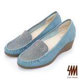 SM-台灣製全真皮-熱銷水鑽楔型樂福鞋-藍色