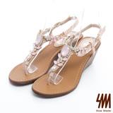 SM-台灣製真皮系列-閃亮造型寶石夾腳楔型中跟涼鞋-粉色