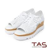 TAS 綁帶洞洞牛皮側鏤空厚底涼鞋-韓系白