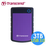創見 StoreJet 3TB 25H3 USB3.0 2.5吋行動硬碟(TS3TSJ25H3P)-紫色