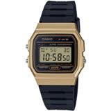 CASIO 方型復古造型電子腕錶-金(F-91WM-9A)