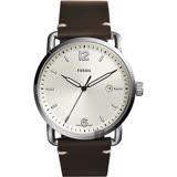 FOSSIL Commuter 尊爵時尚腕錶-銀x咖啡/42mm FS5275