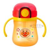 〔小禮堂嬰幼館〕麵包超人 幼兒雙耳學習杯《橘紅.星星.大臉.200ml》吸管式.可鎖按壓式彈蓋