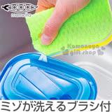 〔小禮堂〕MAMEITA 日製便當盒縫隙清潔海綿《綠黃.左上縫隙刷》
