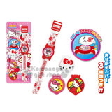 〔小禮堂〕 Hello Kitty 兒童手錶《紅白.蘋果》可換3種蓋子