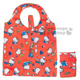 〔小禮堂〕Hello Kitty 折疊式環保購物袋《紅.多姿勢滿版》可折小攜帶