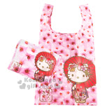 〔小禮堂〕Hello Kitty 折疊式環保購物袋《粉.和風.優雅和服.櫻花滿版》可折小攜帶