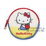 〔小禮堂〕Hello Kitty 零錢包《黃.坐姿.拿蘋果.圓型》淺水布材質