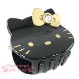 〔小禮堂〕Hello Kitty 造型鯊魚夾《黑.大臉.金蝴蝶結》甜美可愛