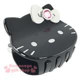 〔小禮堂〕Hello Kitty 造型鯊魚夾《黑.大臉.銀蝴蝶結》甜美可愛