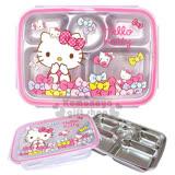 〔小禮堂韓國館〕Hello Kitty 不鏽鋼餐盤式便當盒《粉.多蝴蝶結》